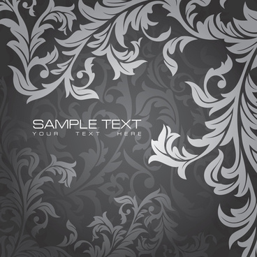 vintage gray floral background vector