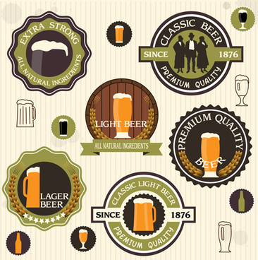 vintage green style beer labels vector set
