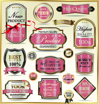 vintage guarantee premium labels vector