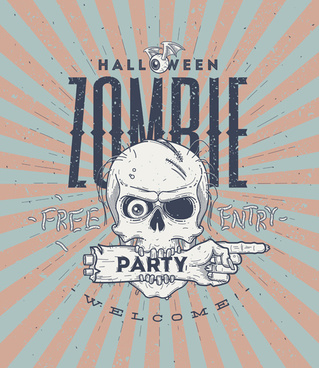 vintage halloween party vector poster set