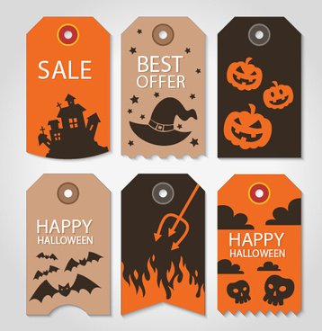 vintage halloween sale tags vector