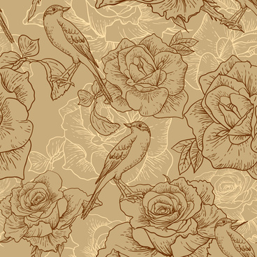 vintage hand drawn birds and flower pattern vector