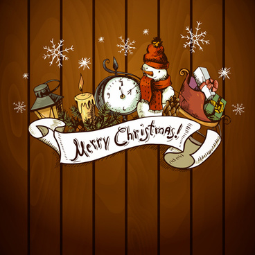 vintage hand drawn christmas background art