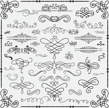 vintage hand drawn swirls ornaments with corner vector