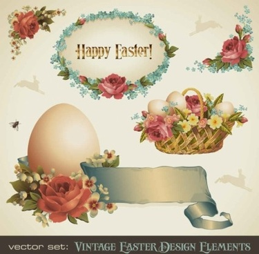 vintage happy easter design elements shiny vector