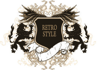 vintage heraldry design elements vector set