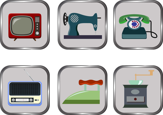 vintage home appliances icons on grey buttons