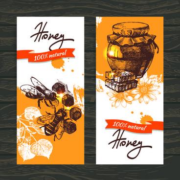 vintage honey banner design vector