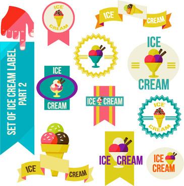 vintage ice cream vector labels