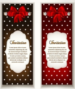 vintage invitation cards and red bow vector