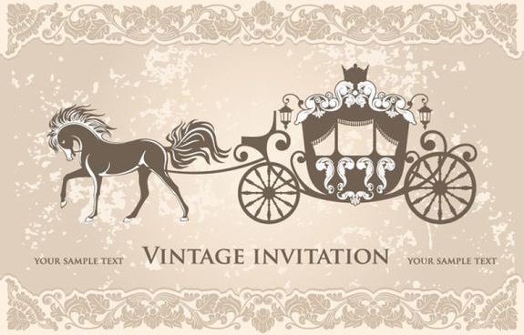 vintage invitation cards background vector
