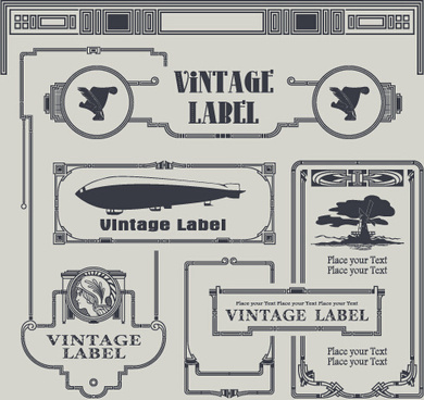 vintage label and border elements vector