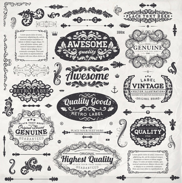 vintage label and ornaments design vector set