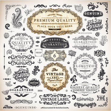 Vintage Labels and Ornaments Free vector in Adobe ...