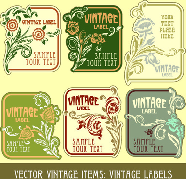 vintage label art design vector set