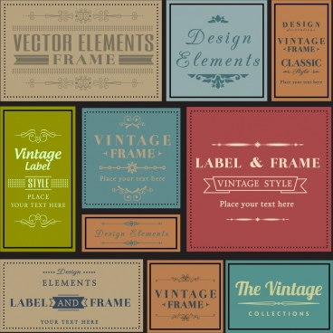 vintage label collection multicolored flat design