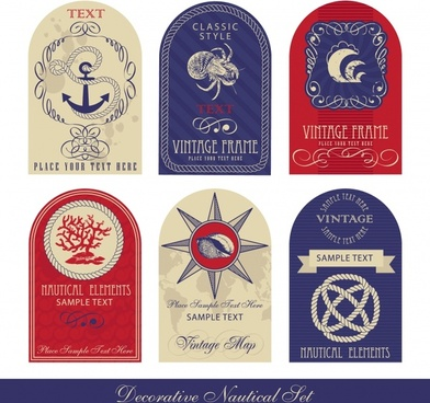 marine labels templates flat vintage shapes emblem ornament