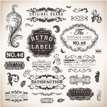 vintage labels and borders vector