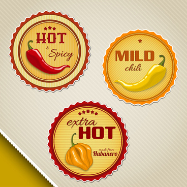 vintage labels chili sauces vector