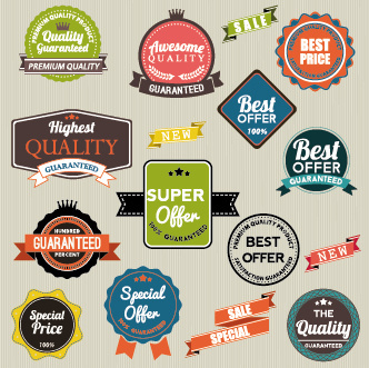 vintage labels with stickers and ribbons vector graphics