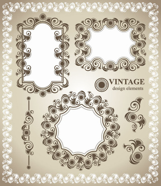 vintage lace frames and borders vector