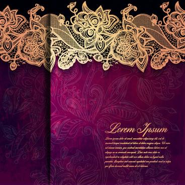 vintage lace ornate background vector
