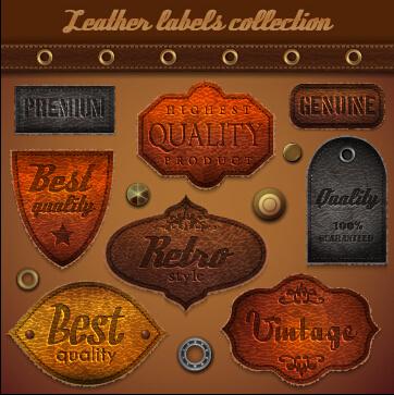 vintage leather label vector set