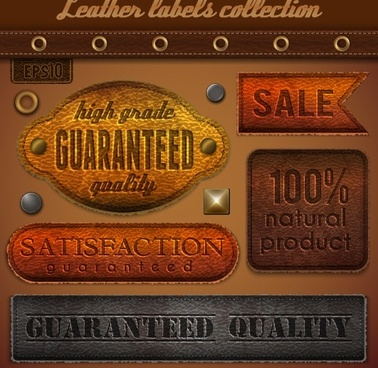 vintage leather labels set