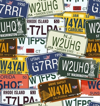 Vintage License Plates Vector Set