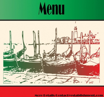 vintage menu vector poster fork boats