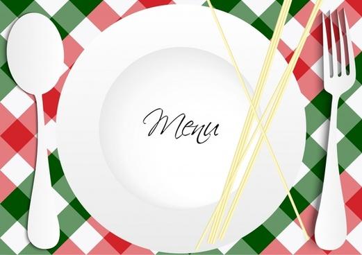 vintage menu vector poster fork plate