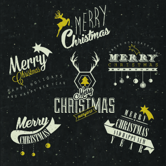 vintage merry christmas logos design vector
