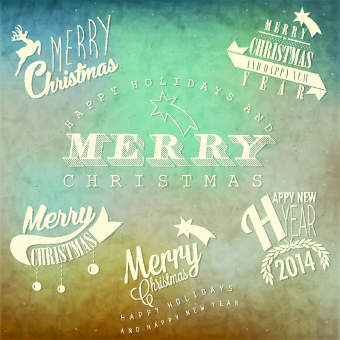 vintage merry christmas logos design vector - Merry Christmas Logos