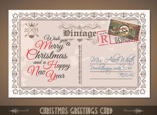 vintage merry christmas postcard vectors tamplate