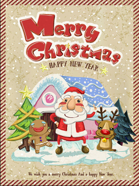 vintage merry christmas poster vector