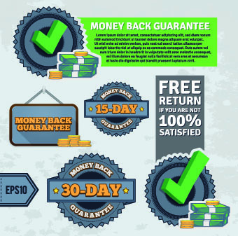 vintage money back guarantee labels vector