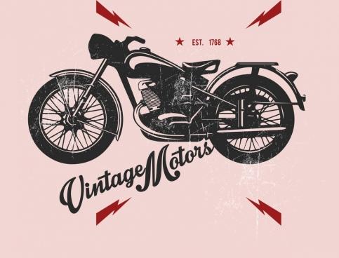 vintage motorbike advertising black design bolt icons