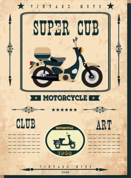 vintage motorbike club banner super cub icon ornament