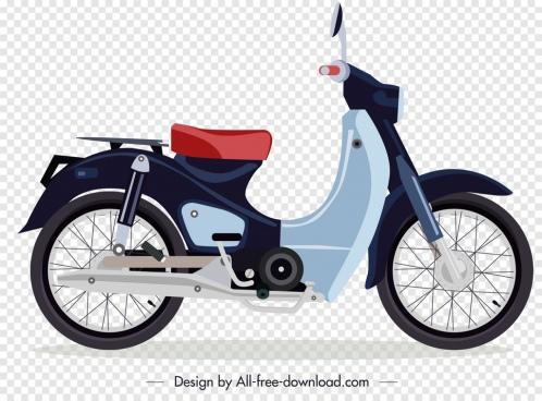 vintage motorbike icon colorful sketch