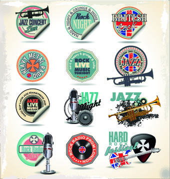 vintage music sticker vector