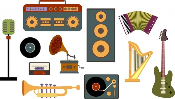 vintage musical instrument collection colored flat design