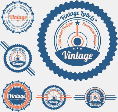 vintage object labels design elements vector