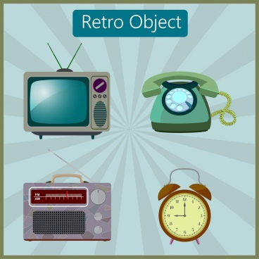vintage objects collection television telephone clock radio icons