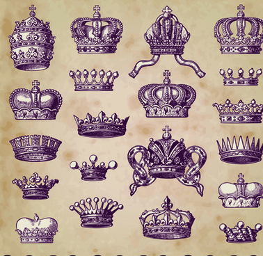 vintage objects crown mix vector