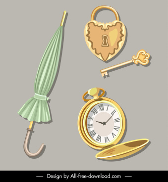 vintage objects icons umbrella watch lock key sketch