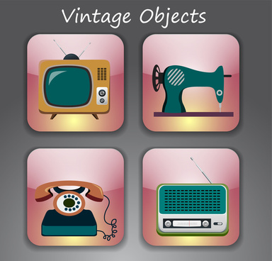 vintage objects vector illustration on pink squares