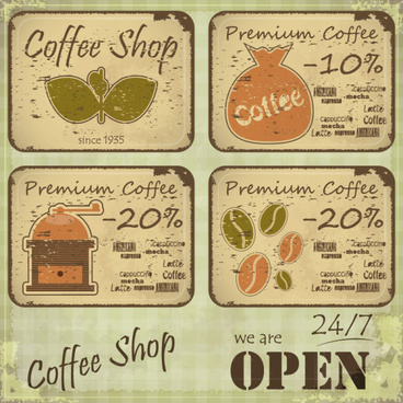 vintage of retro coffee elements cards vector