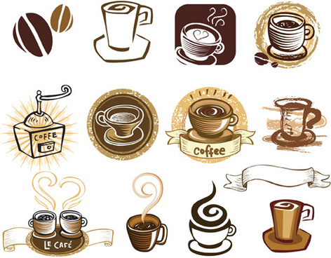 vintage of retro coffee labels vector