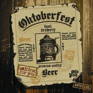 vintage oktoberfest beer poster vector