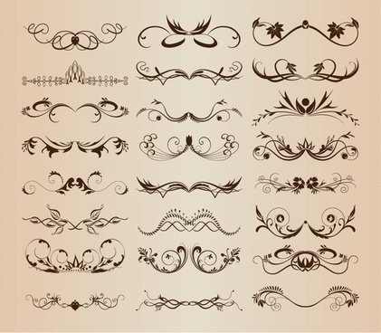 vintage ornament decorative design elements vector set 3